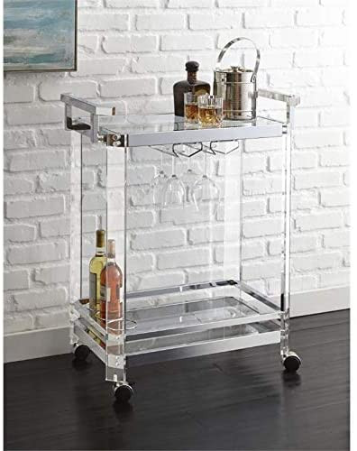 "Southern Enterprises Maxton Bar cart, Polished Silver - Evokes 1920S luxury bar cart; 2 open shelves for storage and display Rolls for serving or rearranging, while 2 safety castors Lock into place Glam style; Polished Silver Finish Overall: 38. 75"" W x 23. 25"" D x 32. 25"" H; weight: 42 pounds; supports up to: 35 pounds (per Top/shelf) Materials: PLATED iron, 5mm tempered Glass, 5mm mirror"