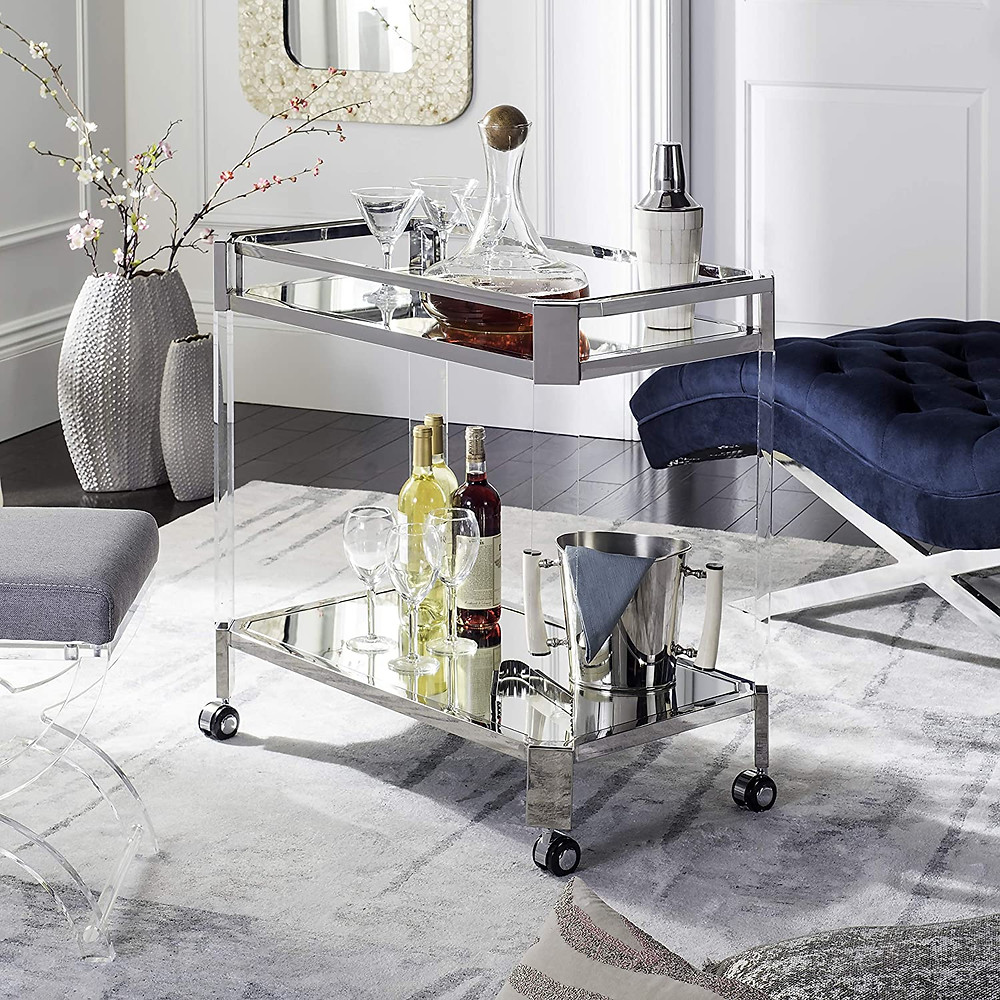 Safavieh Couture Home Iago Glam Silver Acrylic Glass Top Bar Trolley