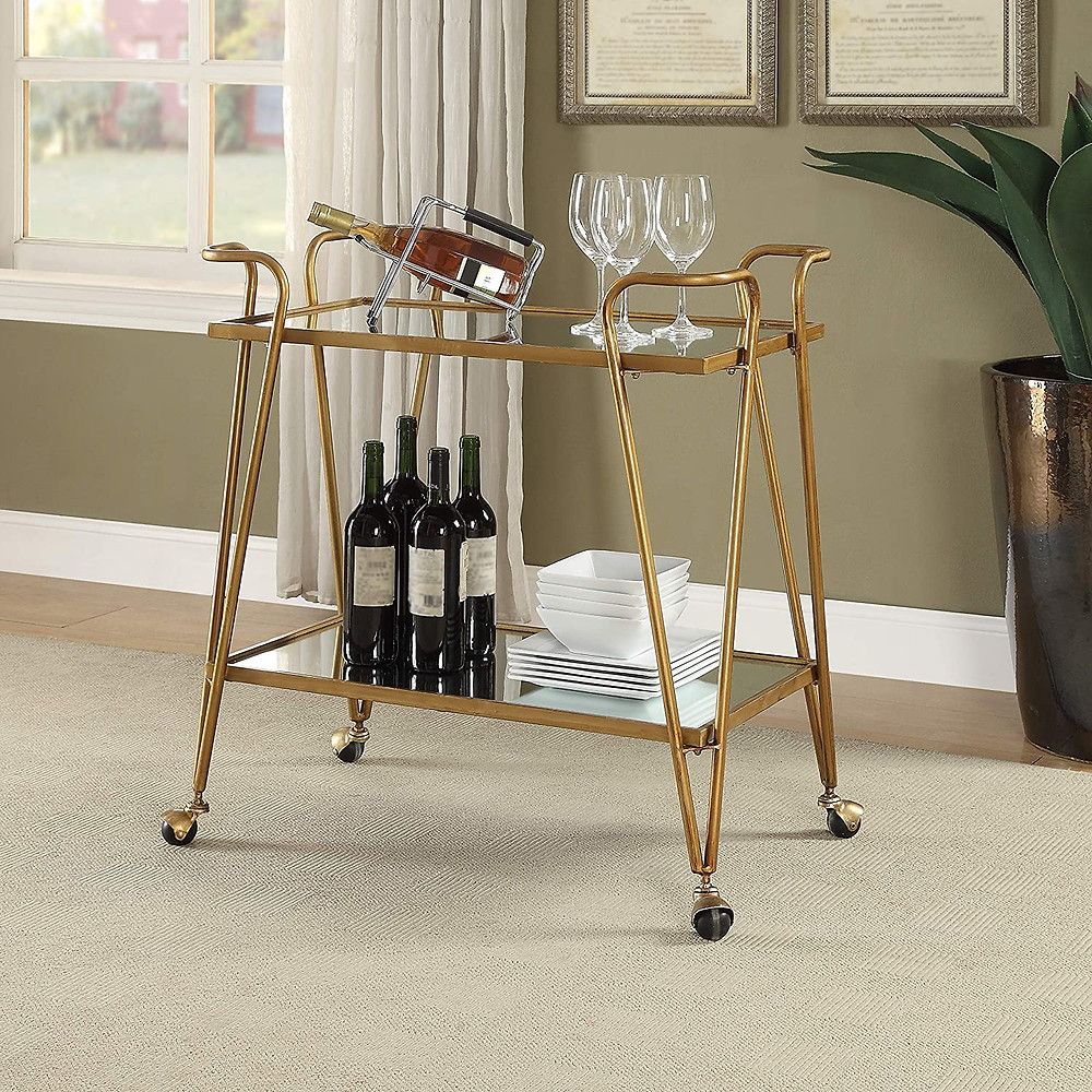 Linon Gina Mid-Century Bar Cart Gold - Mid Century Design and Style Mirrored top and shelf Castors provide for easy mobility around your home Gold Finish Floor to Bottom Shelf: 8.86""