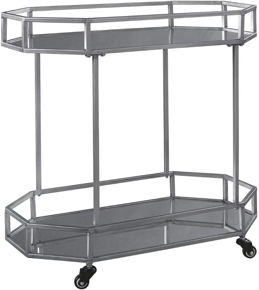 "Ashley Furniture Signature Design - Kadinburg Bar Cart - Silver Finish -CONTEMPORARY BAR CART: Fancy a cocktail or glass of wine? This bar cart's glass racks provide enough space to refill drinks with a sense of enchantment from guests every time BEAUTIFULLY CRAFTED: Made of silver tone metal and 2 glass shelves. Casters provide easy mobility to anywhere in the house TOUCH OF GLAM: Shining silver tone metal allures with plenty of sophistication for your space. Set by a bistro or corner wall so the flow of conversation goes and goes EASY ENTERTAINING: Measuring 29.5"" W x 16.5"" D x 29.5"" H, use the two levels as a space for liquor or wine; the caster wheels make it easy to keep this cart where the party's happening ASSEMBLY REQUIRED: Instructions and hardware included."