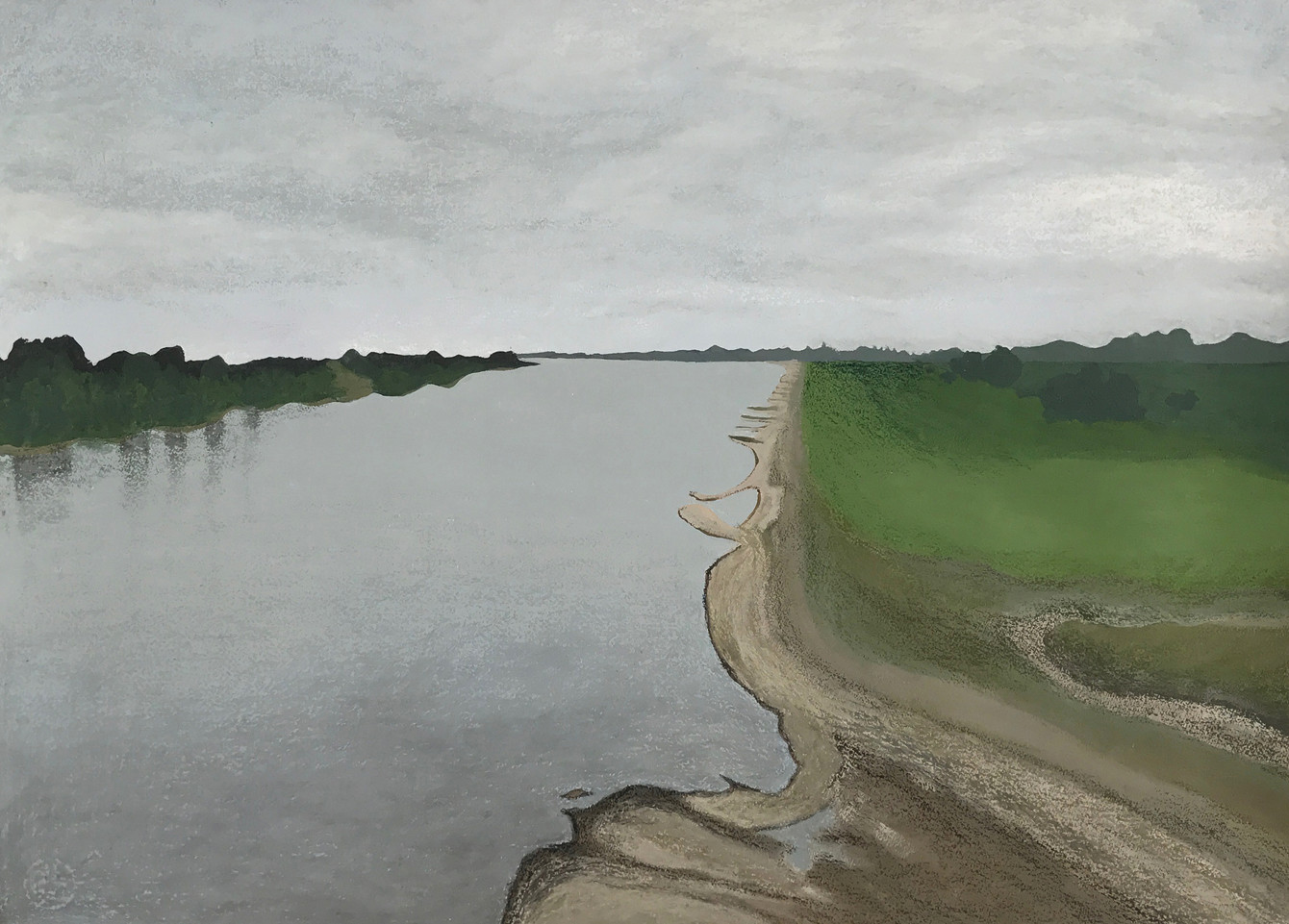 The Rhine‭, 2017‭, ‬acrylic‭ ‬&‭ ‬oil pastels on paper, 60x80 cm