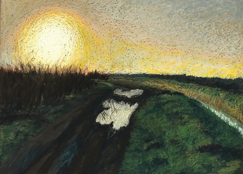 A Sunrise in Glickson, 2017, oil pastels on paper, 50x70 cm