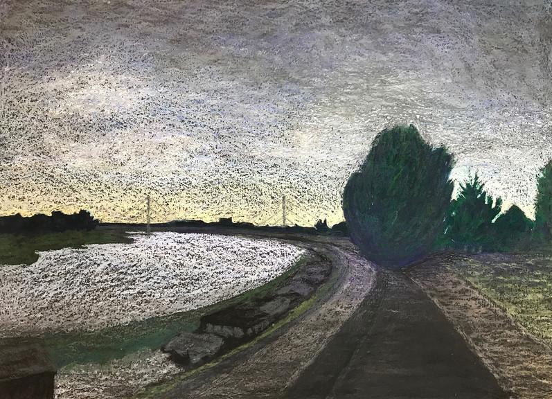 Dusseldorf 4, 2017, oil pastels on paper, 50x70 cm