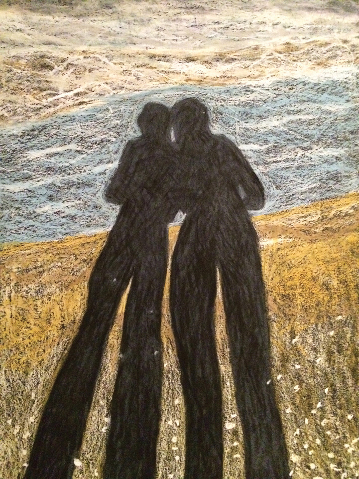 My Shadow & Me 2, 2014, oil pastels on paper,35x50 cm