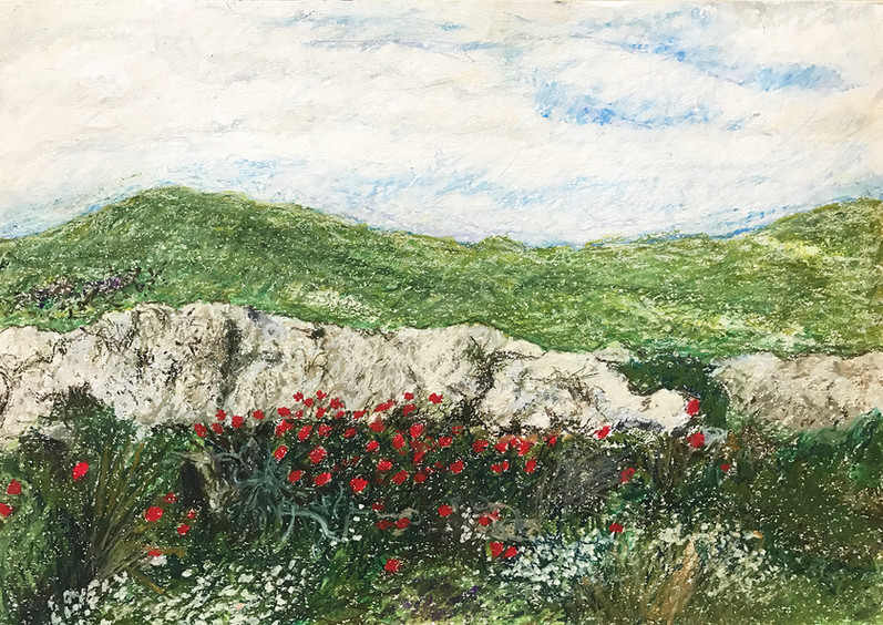 Spring, 2016, oil pastels on paper, 35x50 cm