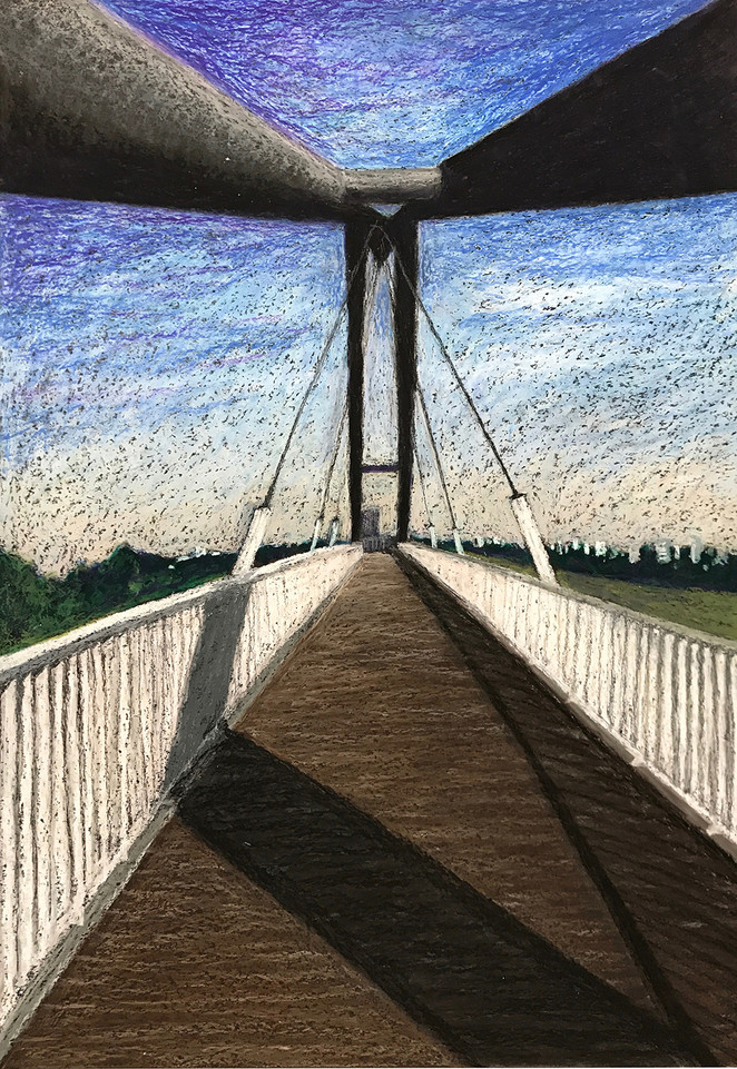 ‬Bridging the Gap‭, 2017‭, ‬oil pastels on paper, 70x50 cm