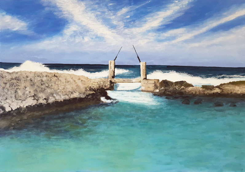 Neve Yam, 2019, acrylic & oil pastels on canvas, 70x100 cm