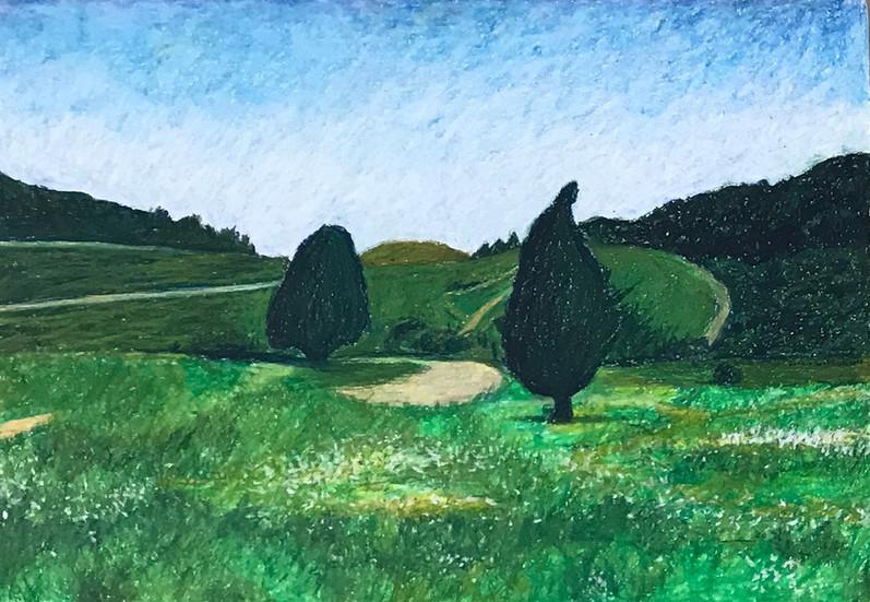Har Horshan, 2016, oil pastels on paper, 50x70 cm