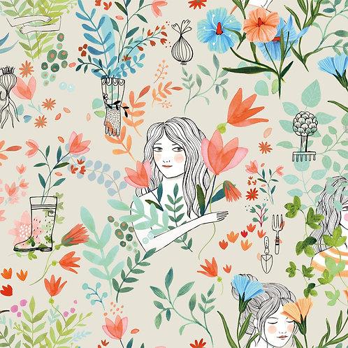 Tissus Popeline - Garden Party x10cm