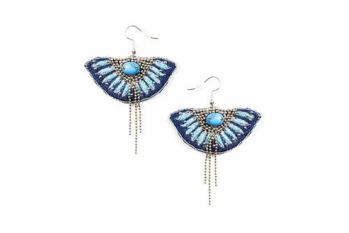 NAHUA - Boucles d'oreilles BRAVA - Marine/Turquoise