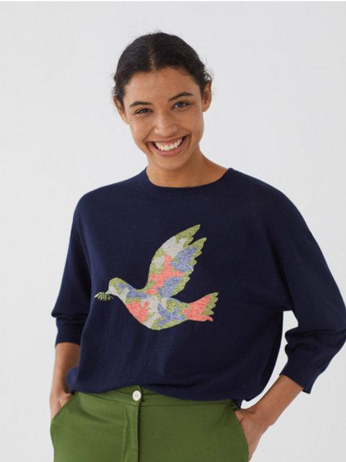 Pull intarsia colombe