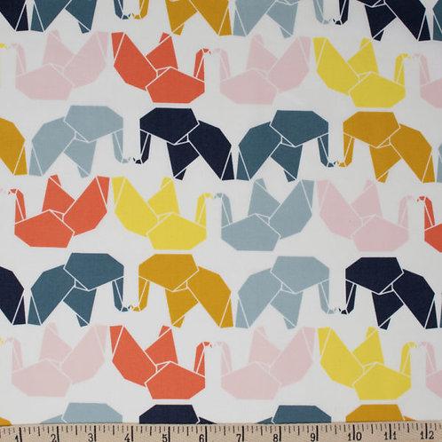 Tissu BIO Popeline BIRCH Elephants Origami x10 cm