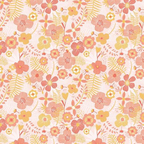 Tissu Popeline Jumbo flowers x10cm