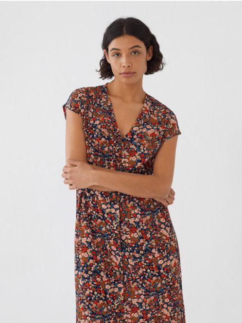 Longue robe à double col motif Millefiori