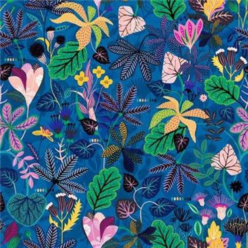 Tissu Rayonne Dashwood collection Gardenia 1675 fond bleu x10cm