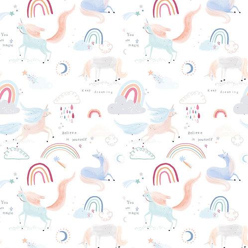 Tissu Popeline Unicorn is in the air x10cm