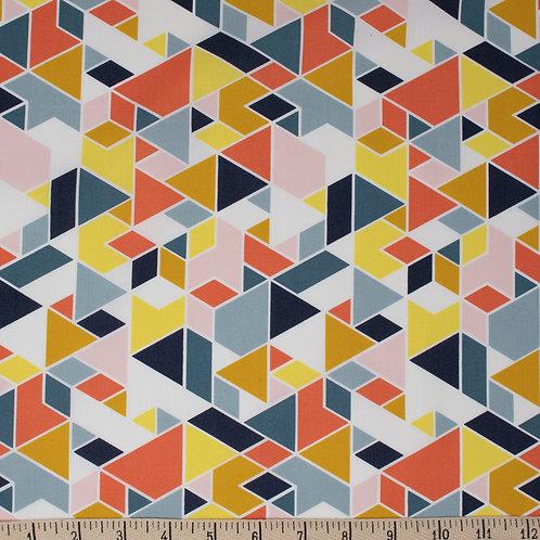 Tissu BIO Popeline BIRCH GEO Path Multi x10 cm