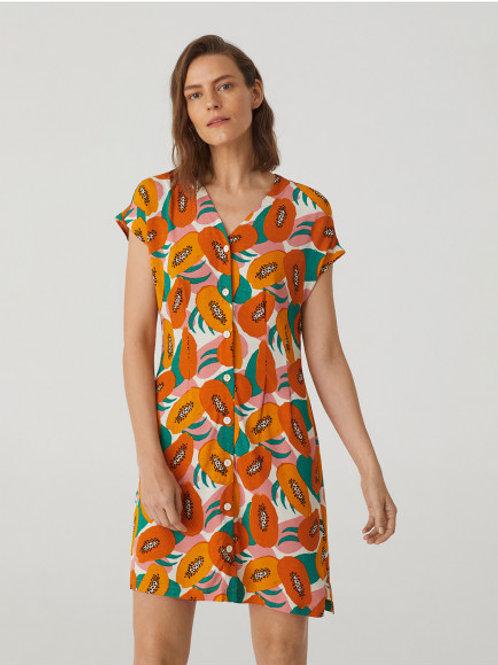 """Robe à col en V """"Small Papaya Print"""""""