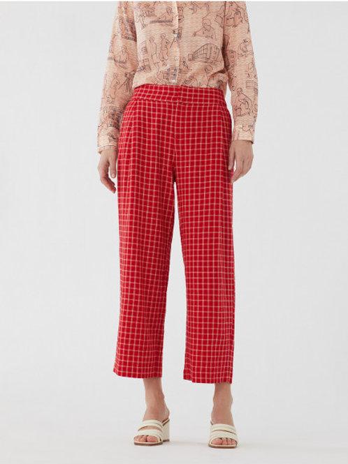 Pantalon en lin à carreaux