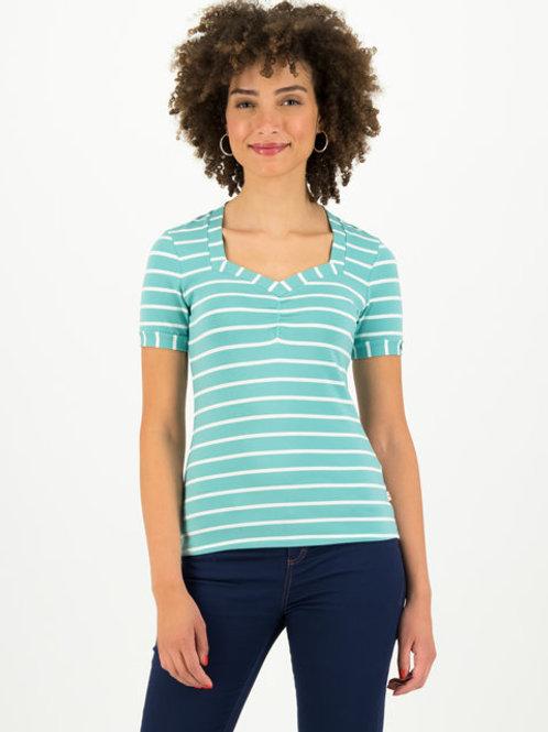 Tee-shirt rayé -logo stripe of aqua