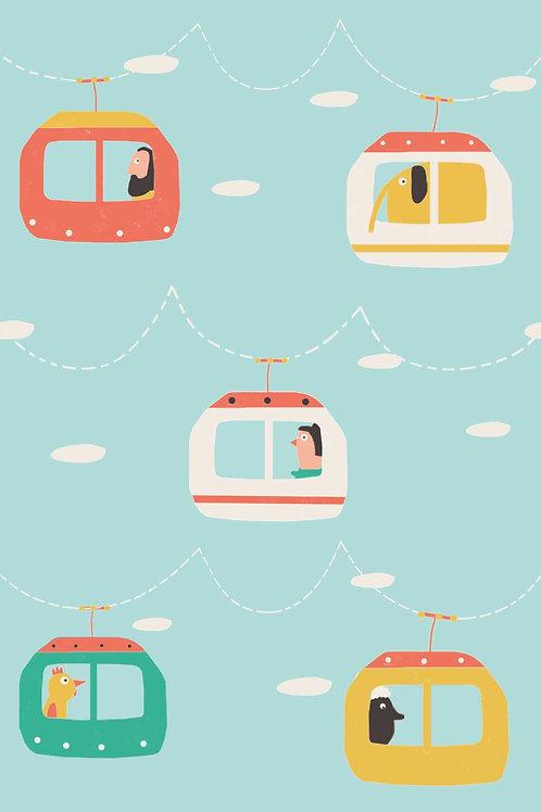 Tissu Popeline Cableway Travel  x10 cm