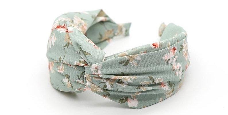 Aqua fabric headband with vintage floral print
