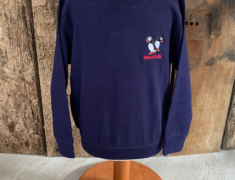 Children's Scilly Sweat- Puffin, navy