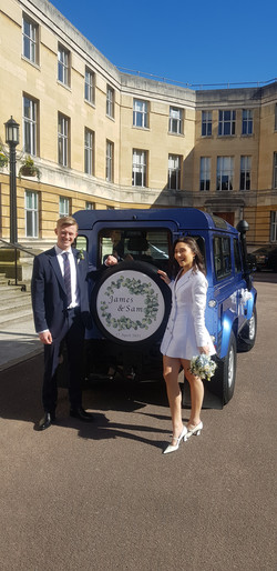 James and Sam Tyre Cover Land Rover Wedding Cars