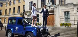 Land Rover Defender Wedding Car Bride and Groom