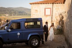 Blue Land Rover Defender Wedding Car Sunshine - Happy Couple