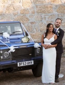 Happy Wedding Couple Blue Monty Land Rover Wedding Car