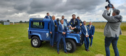 Groomsmen Wedding Car - Blue Land Rover Defender Wedding Car hire