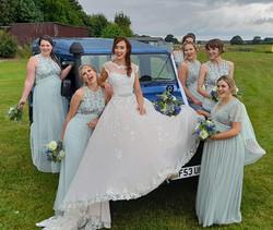 Wedding Car - Land Rover Defender Happy Bridesmaids