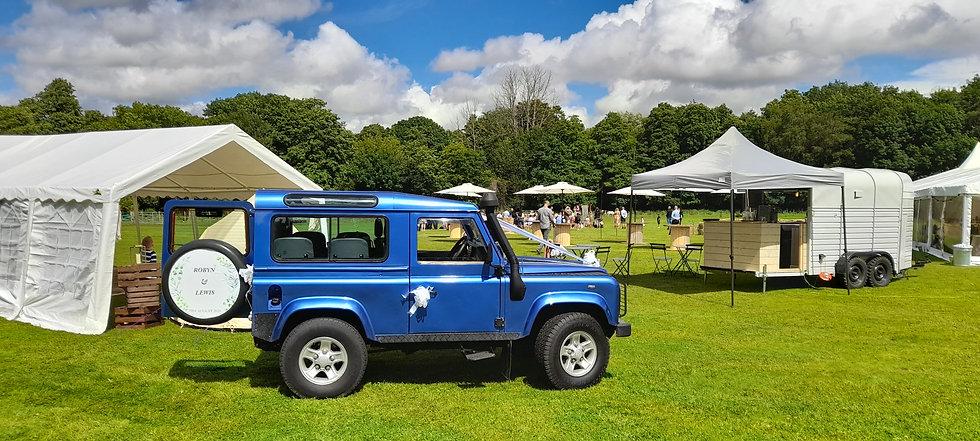 Monty Land Rover Wedding Field Photo