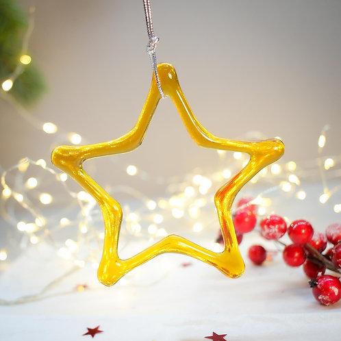 Новогодняя игрушка 'Звезда' (янтарная)