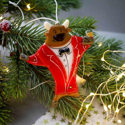 Новогодняя игрушка 'Бык в красном костюме'