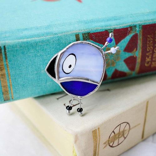 Брошка 'Чижик' (голубые оттенки)