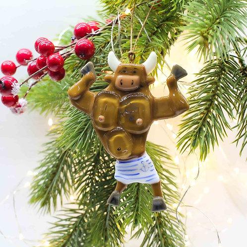 Новогодняя игрушка 'Бычок-морячок' (загорелый)