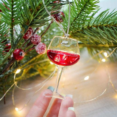 Новогодняя игрушка 'Бокал вина'