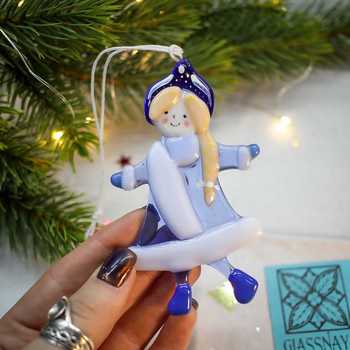 Новогодняя игрушка 'Снегурочка' (синяя шапочка)