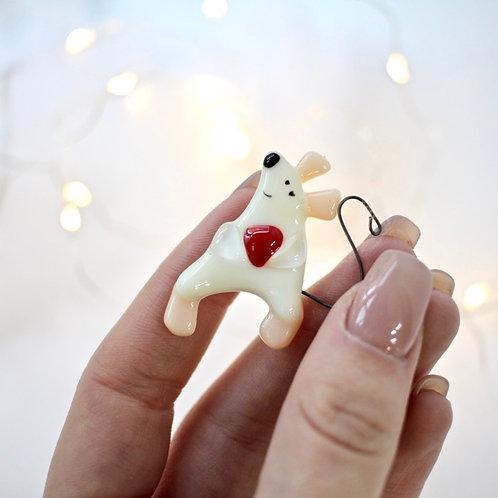 Брошка 'Мышка с сердечком'
