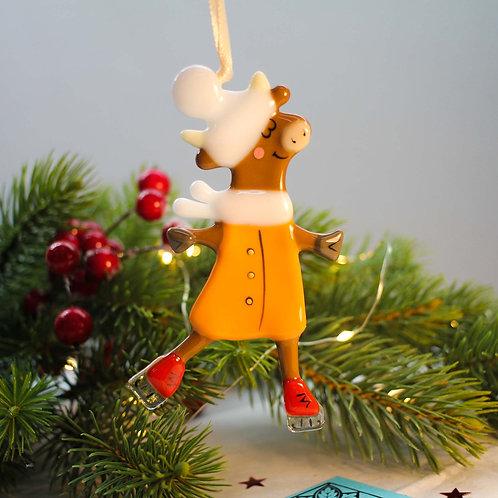 Новогодняя игрушка 'Коровка в шапочке' (рыжая шубка)