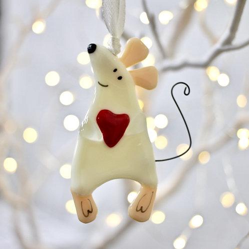 Новогодняя игрушка 'Мышонок с сердцем' (сливочный)