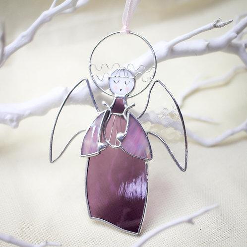 Витражная подвеска 'Ангелочек с арфой' (фиолетовый)