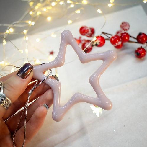 Новогодняя игрушка 'Звезда' (розовый опал)