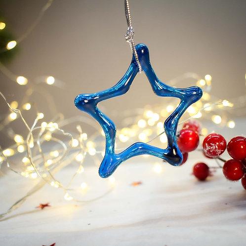 Новогодняя игрушка 'Звезда' (бирюза)