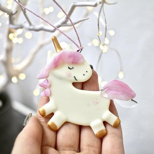 Новогодняя игрушка 'Единорог в оглядке' (розовый)