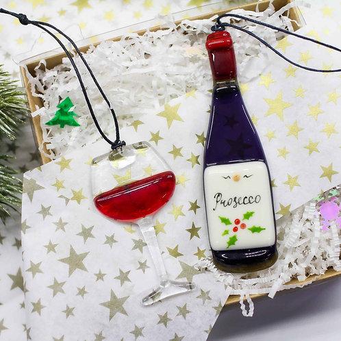 Набор новогодних игрушек 'Вино с бокалом'