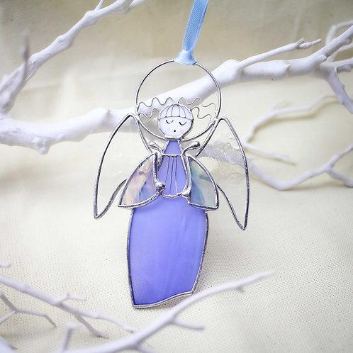 Витражная подвеска 'Ангелочек с арфой' (голубой)