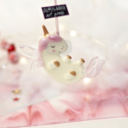 Новогодняя игрушка 'Крылатый единорожек на спинке' (розовый)